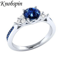 Wholesale middle finger rings for sale resale online - Trendy Ladies Shining Blue Zircon Finger Ring anel European Hot Sale Wedding Engagement Ring for Women Bague femme US Size