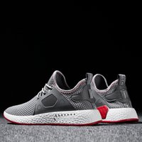 муха гонки оптовых-2019 Fashion Men Shoes Casual Weaving Fly Mesh Breathable Light Soft Black Slipon Mens Shoe Male Trainers Sneakers Human Race Y200106