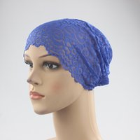 Wholesale girls 18 hat resale online - New Fashion Style Lace Bandage Muslim Inner Hijab Caps Islamic Underscarf Hats Colors