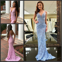 Wholesale prom dress sale free shipping resale online - Simple Lace Prom Dresses Hot Sale V Neck Women Party Gown Sexy Backless Floor Length Cheap Elegant Formal Mermaid Dresses