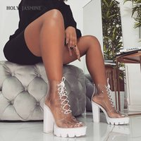 Wholesale transparent women boots for sale - 2019 New Summer Peep Toe ankle sandals boots Transparent Cross tied crystal square heels women s cm high heels shoes woman