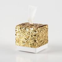 свадьба способствует коробке подарков конфет оптовых-50шт Свадеб сувениры и подарки Candy Box Bling Sequin площади Подарочная коробка Present Упаковка Коробки Свадьба Декор сада