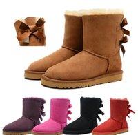 80e3335ec Diseñador Mujer Invierno Botas de Nieve Moda Australia Clásico Corto botas  de arco Tobillo Rodilla chica arco MINI Bailey Boot 2019 TAMAÑO 35-41 envío  ...