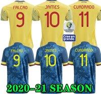 calções de futebol azul venda por atacado-Top qualidade 2020 FALCAO JAMES camisa de futebol 20 21 casa CUADRADO Bacca 2020 afastado azul camisa de futebol esportes Curto VALDERRAMA colombiano