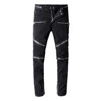 Wholesale tie dye ties men for sale - Brand New Mens Jeans Luxury Distressed Ripped Biker Jeans Slim Fit Motorcycle Biker Denim Jean Men Hip Hop Zipper Designer Pants