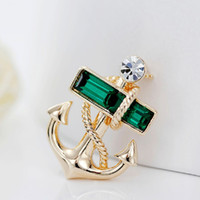 ancre fibules achat en gros de-Man Anchor Brooch Lapel Pins For Men Pirates Metal Brooches Fashion Jewelry Alloy Suit Shirt Collar Clips For Women