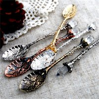 Wholesale crystals shops for sale - Group buy European Court Retro Style Coffee Spoon Metal Carving Crystal Head Fruit Dessert Ice Cream Scoop Shop Decorative jy H1