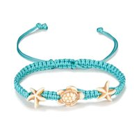Wholesale turquoise sandals for sale - Group buy Vintage Starfish Anklets for Women Turtle Anklet Leg Bracelet Handmade Wax Line Turquoise Foot Decoration Bohemian Jewelry Sandals Gift