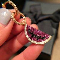 aretes de oro al por mayor-Pendientes de aro de sandía de frutas de moda para mujeres Micro Pave Zircon Pendientes llenos de oro Punk Hiphop Party Jewelry