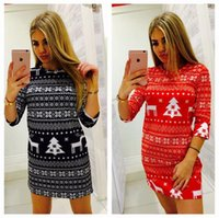 Wholesale clothing middle online - Christmas Print Dresses Women Xmas Mini Dress Party Ladies Middle Sleeve Casual Loose Elk Dress Home Clothing OOA5983
