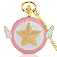 ouro fob relógios venda por atacado-Ouro e rosa Presente do tema Cadeia completa Quartz gravado Fob Retro Pingente Pocket Watch