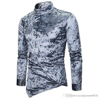 vestuário de veludo venda por atacado-Mens Designer Personalidade Botão inclinado Diamante Velvet irregulares Shirts Multi Color Henry Collar High Grade manga comprida Mens Apparel