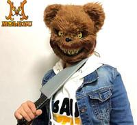 trajes de oso completo al por mayor-Máscara de oso de peluche de plástico de felpa máscaras faciales de juguete Scary Killer Adulto malvado psico disfraces de Halloween disfraces máscara de fiesta