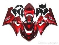 carenado para kawasaki ninja rojo zx6r al por mayor-4 regalos gratis Nuevos moto motocicleta ABS Kit de carenados aptos para la Kawasaki Ninja ZX6R ZX6R 2005 2006 05 06 636 carrocería conjunto rojo oscuro