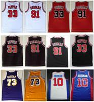 çin mayo ücretsiz kargo toptan satış-Kaliteli Nakış Vintage Sarı Mor 73 # Rodman Jersey Scottie # 33 Pippen Jersey Retro Dennis 91 # Rodman Jersey 45 # Michael J Gömlek