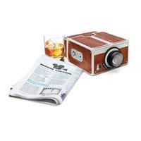 karton-handy-projektor großhandel-DIY 3D Projektor Pappe Mini Smartphone Projektor Licht Neuheit Einstellbare Handy Projektor Tragbares Kino In Einem Kasten Freies verschiffen