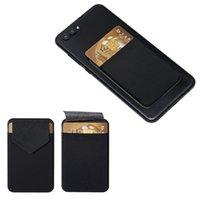 kartenhalter für handy großhandel-Mode elastische Handy Brieftasche Kartenhalter Kreditkarteninhaber selbstklebende Aufkleber Tasche Fall Leder Handytasche