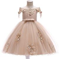 vêtements d'enfants pour les mariages achat en gros de-Première communion robe été fleur fille robes pour anniversaire de mariage enfants fille vêtements enfants vêtements bébé Costume L5057 Y19061701