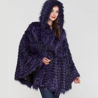 pelzmütze ponchos großhandel-2019 BFFUR Frauen realer Pelz Fox-Mantel Natur Pelz-Mantel Ponchos heile Haut Striped Capes Covered weiblich Winter Fashion Schlanke Schal