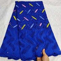 bordado de algodão suiço de algodão venda por atacado-Azul seco Africano Cotton Lace Fabric 2019 de alta qualidade bordado nigeriano Lace Pedras de casamento suíça Voile Na Suíça