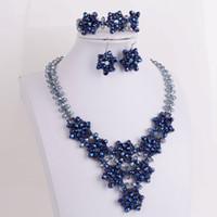 conjunto de joyas hechas a mano africanas al por mayor-4Ujewelry collar conjunto niñas azul marino gargantilla perlas africanas joyería conjunto hecho a mano nupcial fiesta celebridad conjunto de joyas para mujeres