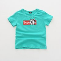 neue hemden kurze designs mädchen großhandel-Neuer Junge Mädchen Kinder Kleidung Kurzes Hemd Brief und Tiere Print Design O-Ausschnitt Kinder Kleidung Hemd 100% Baumwolle Mädchen Hemden