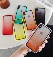 Wholesale phone case rainbow for sale – best Acrylic Gradient Clear Phone Cases Rainbow Back Cover Transparent Shockproof Protector for iPhone X XR XS Max s plus plus plus