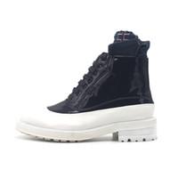 nueva patente de encaje hasta el tobillo al por mayor-Nuevo Blanco Negro Charol Botas altas Martin Boots ata para arriba la moda para hombre del tobillo botines zapatos