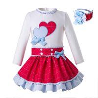 ingrosso la neonata in cima ai cuori-Pettigirl Spring Girls Princess Set di abbigliamento di marca con fascia per capelli a doppio cuore Top Tops Kids Designer Clothes G-DMCS108-C69