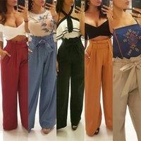 pantalon beige mujer al por mayor-Pantalones de la bolsa de papel para la ropa de las mujeres Primavera Verano Moda Cintura alta Pierna ancha Pantalones de ocio ocasionales