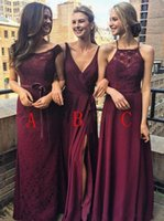 Wholesale wedding dresses under 100 online - 2019 Burgundy Chiffon Bridesmaid Dress Long Garden Country Formal Wedding Party Guest Maid of Honor Gown Plus Size Custom Made