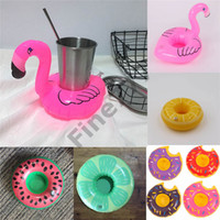 Wholesale floating drink holder resale online - Hot Sale Inflatable Flamingo Drinks Cup Holder Pool Floats Bar Coasters Floatation Devices Children Bath Toy small size
