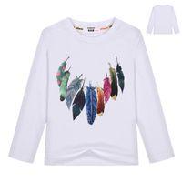 neue design-tops für mädchen großhandel-Mode bunte Federdruck T-Shirt Kinder 2018 neue amerikanische europäische Vogue Design Mädchen Top Tees Kinder Baumwollkleidung