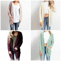 Wholesale long pocket knitted cardigan resale online - Knitting Twist Sweater Eight Colors Double Pocket Long Sleeve Cardigan Ladies Popular Leisure Home Clothing Size Full sw E1
