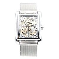 relógios de mão para as mulheres venda por atacado-Relógio retro dos homens da mão vento relógio mecânico Mulheres de pulso esqueleto Retângulo Relógios banda de aço inoxidável
