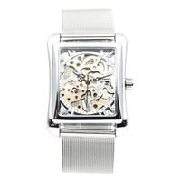 мужские наручные часы оптовых-Retro Mens Hand Wind Mechanical Watch Women Wristwatches Skeleton Rectangle Watches Stainless Steel Band  Timepiece