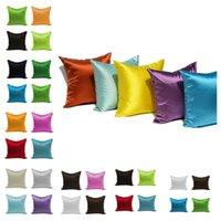 capas de sofá de seda venda por atacado-Simples cetim de seda de imitação fronha sofá cor pura capa de almofada travesseiro moda brilhante decorações de natal fronha T2I5317