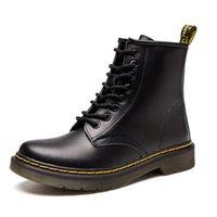 sapatos quentes para homens venda por atacado-Marca quente dos homens Botas De Couro De Inverno Martens Sapatos Quentes Da Motocicleta Mens Ankle Boot Doc Martins Casal De Pele Oxfords Sapatos