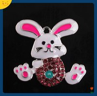 ostern klobige anhänger großhandel-Doluo Modeschmuck 40x42mm 10 stücke Ostern Tier Kaninchen Legierung Emaille Strass Anhänger für Chunky Perlen Halskette Machen Schlüsselbund Charme