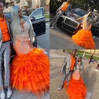 Wholesale lace mermaid prom dress sash for sale - Group buy 2020 Plus Size Orange Mermaid Prom Dresses Long Sleeves Sheer Applique Lace Tiered Ruffles African Evening gowns