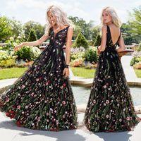 vestido preto laço completo longo venda por atacado-Sexy Preto Boho Verão Mulheres Vestidos Longos Vestidos de Noite 2020 Estampa Floral Completa Sem Encosto Sem Mangas Vestidos de Festa de Baile Vestidos FS8088