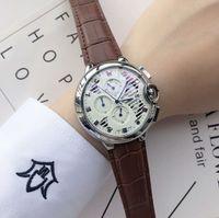 relógio genuíno venda por atacado-Top Quality Designer de luxo dos homens relógios de couro genuíno relógio de quartzo elegante relógios de pulso relógio para homens Reloj Hombre 2018 frete grátis