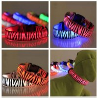 Wholesale wire dog collars resale online - Eco Friendly Pattern Nylon Pet LED Dog Collar Night Safety LED Flashing Glow LED Pet Supplies Dog Cat Wire Mesh Collars