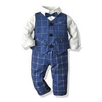 Wholesale birthday party clothes resale online - Children Wedding Suit For Boys Kids Autumn Spring Boys Party Birthday Clothing T Shirt Pants Vest Tie Set Children Outfits