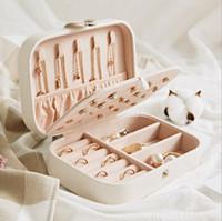 ohrring organisatoren großhandel-Ohrringe Ringe Platte Schmuckschatulle - Kunstleder Reise Ohrring Armband Halsketten Multifunktions Aufbewahrungsboxen Cases Organizer