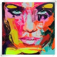 cuchillo de pintura al óleo al por mayor-x1 Retrato de cuchillo de paleta enmarcado Cara de Francoise Nielly, Decoración de pared moderna pintada a mano Arte abstracto Pintura al óleo sobre lienzo. Varios tamaños alE