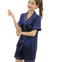 Wholesale charming suits resale online - Women s Silk V neck Pajamas Summer Short Sleeved Silk Lapel Cardigan Shorts Leisure Home Clothes Suit Sexy Charming Sapphire Red
