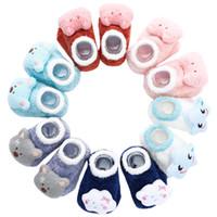 Wholesale cotton skid toddler socks for sale - Group buy New cute doll bell anti skid BABY TODDLER SOCKS three dimensional cartoon warm feather yarn children floor socks