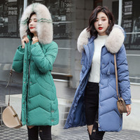 Wholesale green knee pads resale online - 2019 Winter New Style Korean style over the Knee Women s Mid length Thick Cotton padded Clothes Large Fur Collar Jacket