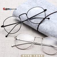 retro style eyeglasses al por mayor-Samjune Unisex Vintage Gafas Redondas de Lectura Marco de Metal Personalidad Retro Estilo Universitario Gafas Lente Clara Marcos de Gafas